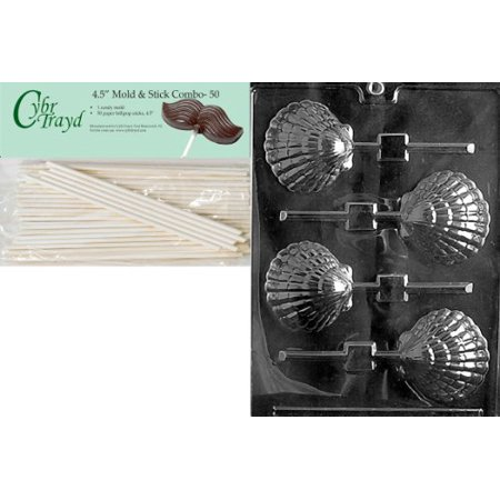 Cybrtrayd 45St50-N021 Shell Lolly Like N003 Nautical Chocolate Candy Mold with 50-Pack 4.5-Inch Lollipop Sticks