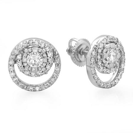 Dazzlingrock Collection 0.80 Carat (ctw) 14K Round Cut Diamond Ladies Cluster Swirl Stud Earrings 3/4 CT, White (14k Diamond Swirl)