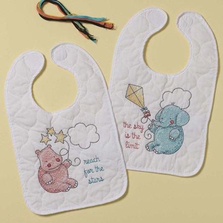 Plaid® Up Up & Away Baby Bibs Stamped Cross-Stitch Kit