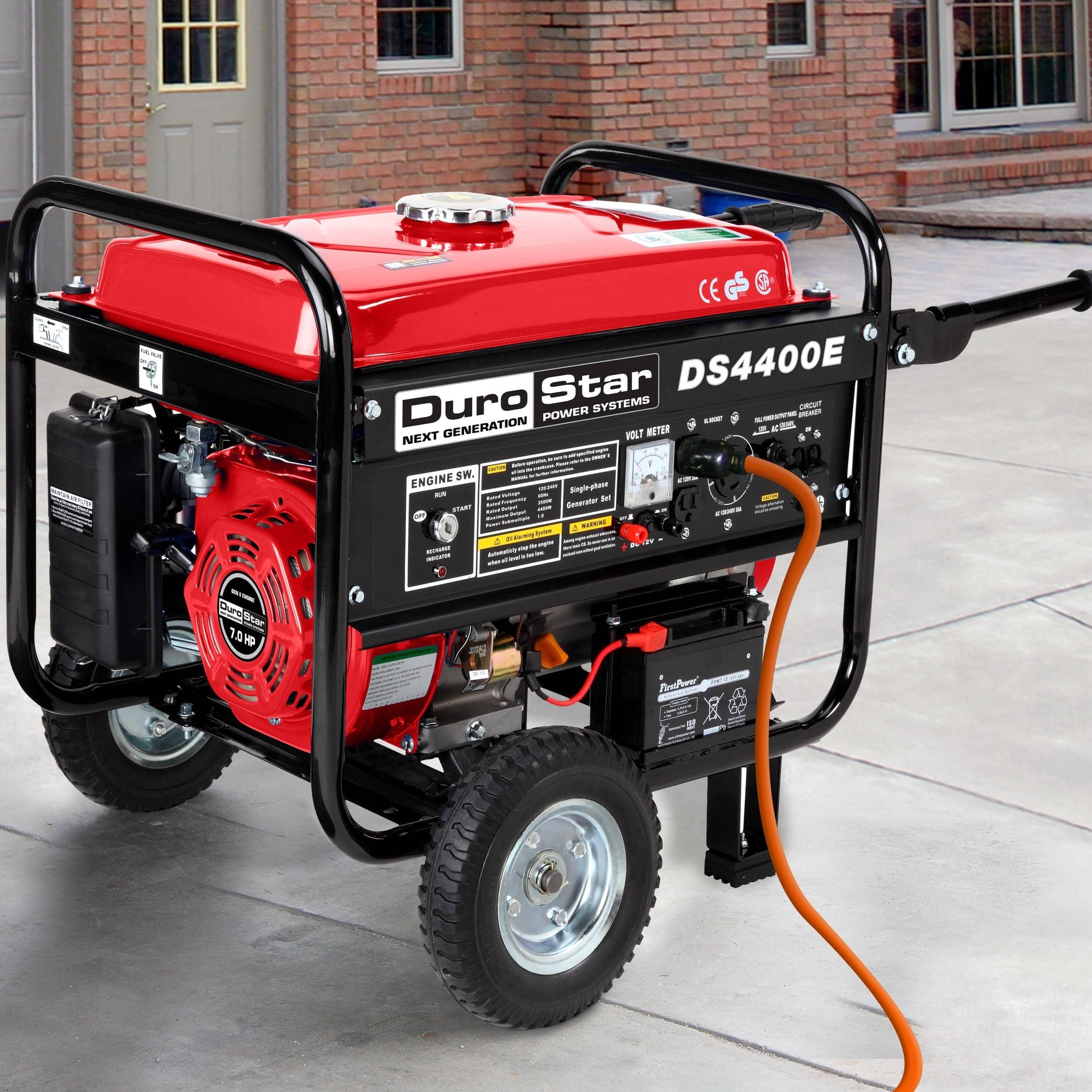 DuroStar 4400 Watt 7.0 HP Air Cooled OHV Gas Generator w/...