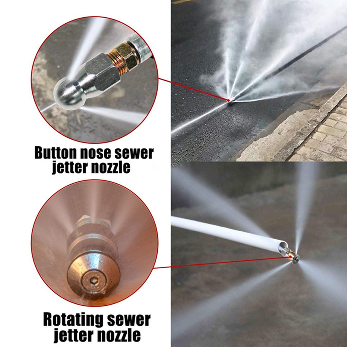 US 30M 1//4/'/' M-NPT Hose Sewer Line and Drain Jetter Kit W//Sewer Nozzle/&Adapter