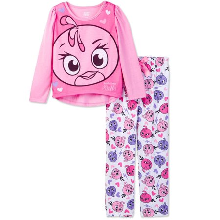 Angry birds Girls' Stella 2 Piece Long Pajama Set - Angry Birds Outfit