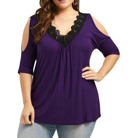 60da27dc436a97 AKFashion - AKFashion Women s Plus Size Elbow-Length Sleeve Sexy Lace V  Neck Cold Shoulder Blouse Shirts Tops - Walmart.com