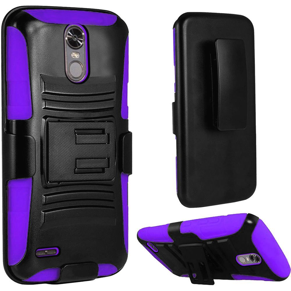 For LG Stylo 3 Stylo 3 Plus Hybrid Side Kickstand With Holster Clip Case - Black+Dark Purple