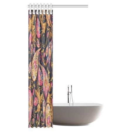 POP Boho Paisley Shower Curtain, Colorful Paisley Floral Pattern Classical Ornamental Medieval Ethnic Art Shower Curtain Bathroom Decor 36x72 inch - image 2 de 2