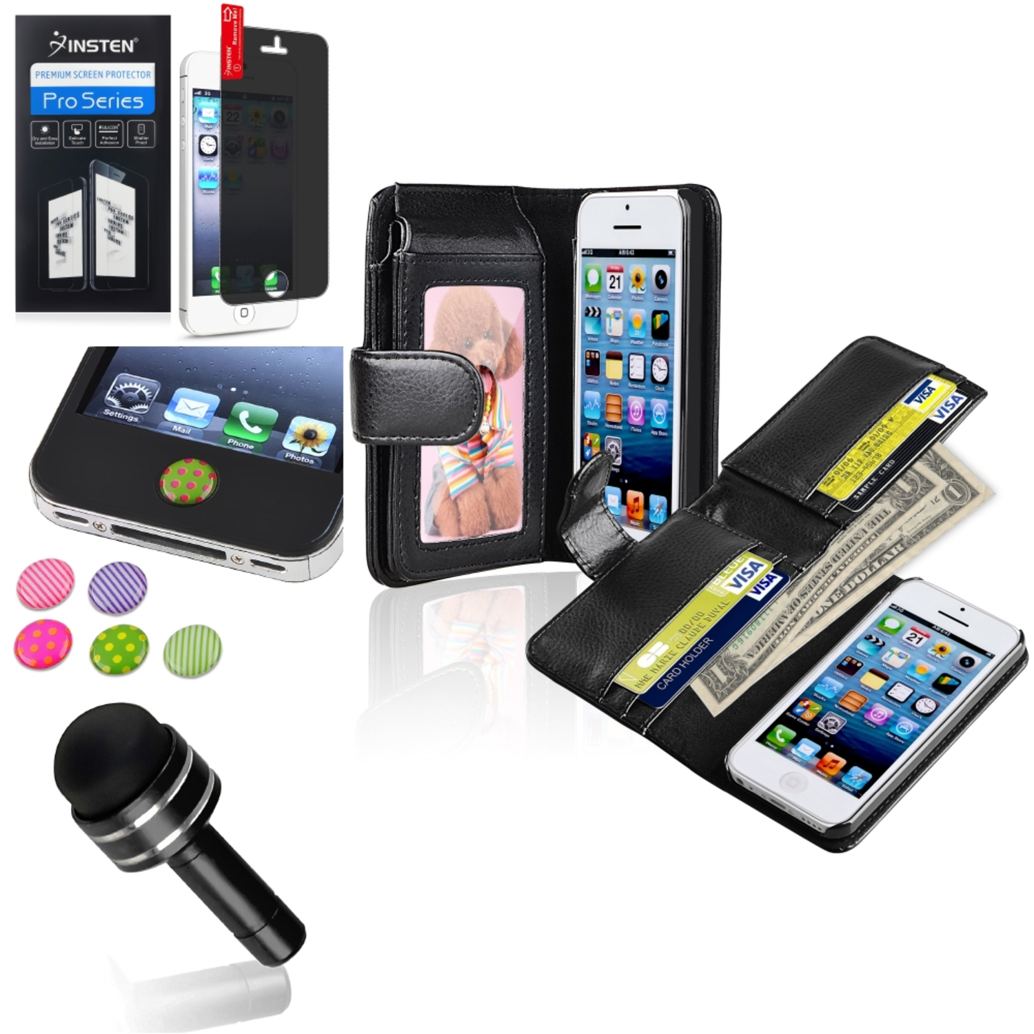 Insten Black Wallet Leather Case+Stylus+Privacy Anti-Spy Protector+Sticker For Apple iPhone 5C