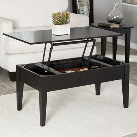 Wooden Lift Top Coffee Console Tile Wood Storage Living Room Home