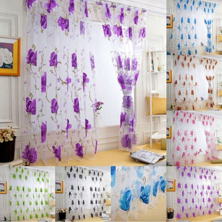 Flower Pattern Voile Curtains, Window Door Drapes Panels Sheer Tulle Shade Curtain, 100 x 200cm, 6 Colors