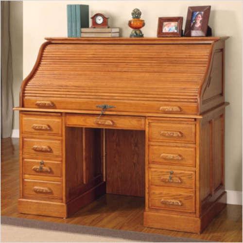 Wildon Home Paulina 54 Roll Top Desk In Deluxe Oak