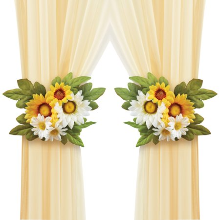 Bright Yellow and White Daisy Tie Backs with Greenery - Set of 2, Seasonal Home Accent for Any Curtains ()