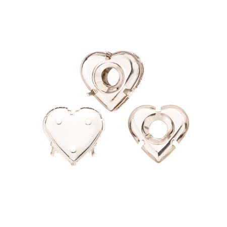 Puffed Heart Shape Multi-Function Bezel Cup Silver Plated Brass Fits ss38 Swarovski Crystal 16x16mm Sold per pkg of 6](Cut And Paste Halloween Crafts)