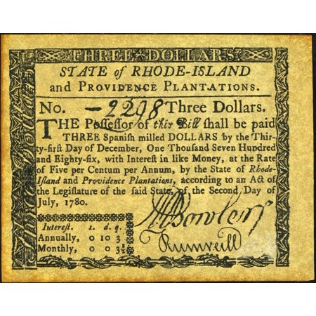 Rhode Island Banknote Nthree Dollar Banknote 1780 Issued By The State And Guaranteed By The United States Rolled Canvas Art -  (24 x 36)