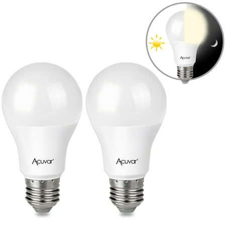2 Acuvar 9W E26 LED Dusk to Dawn Light Bulbs with Auto On and Off Function for Home, Camping, Outside