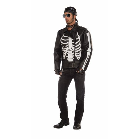 Biker Faux Leather Skeleton Costume Jacket Adult - Leather Jacket Costume