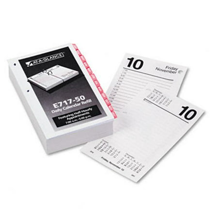 At-A-Glance E717T50 One-Color Daily Desk Calendar Refill with Monthly Tabs  3-1/2w x -