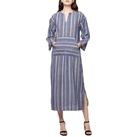 Women Casual Split Stripe DressCasual Front Pockets3/4 Sleeve,V NeckSoft Breathable MaterialSuitable for Travel,Beach,Daily Wear - image 11 de 11