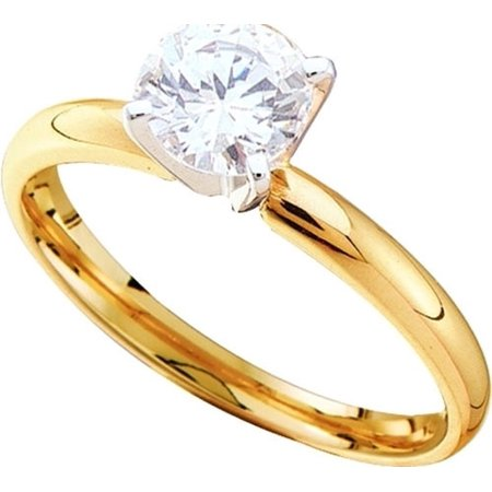 14K Yellow Gold Two Tone 0.75ctw Shiny 4 Prong Diamond Semi mount Solitaire Ring