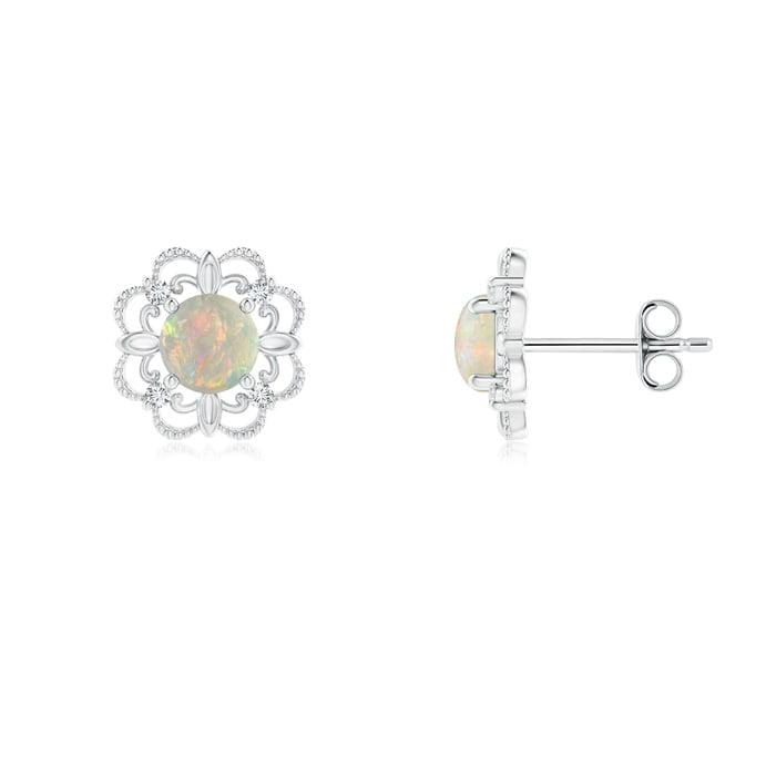 Angara Vintage Style Opal and Diamond Fleur De Lis Earrings in Yellow Gold vcnjH