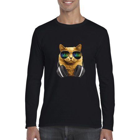 Cats T-Shirt Dj Cat With Headphones  Mens Long Sleeve Shirts