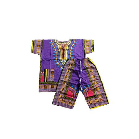Unisex African Dashiki Shirt & Capri Pants Set: Purple, Yellow, Pink (One Size ) W42