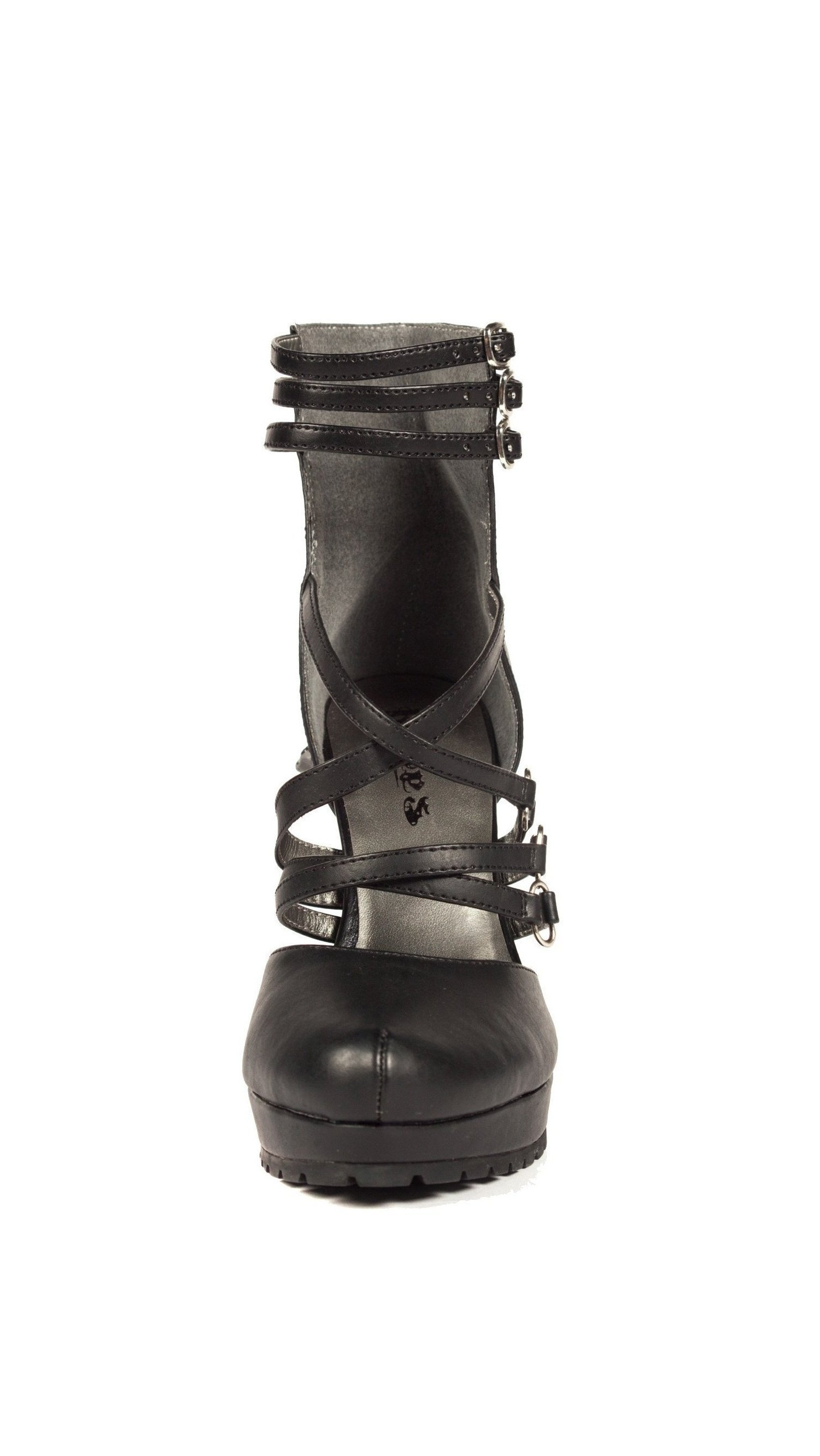 Hades Shoes H-VERNE Plain black front PU pump with multiple front black and ankle straps 8 / Black 4189b0