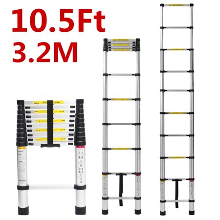 Kadell 16.5Ft/12.5Ft/10.5ft Aluminum Telescoping Ladder, Non-Slip Ladder with Foot pad Lightweight Multi-Use Retractable Extension Step Loft Ladder, 330lbs Load Capacity