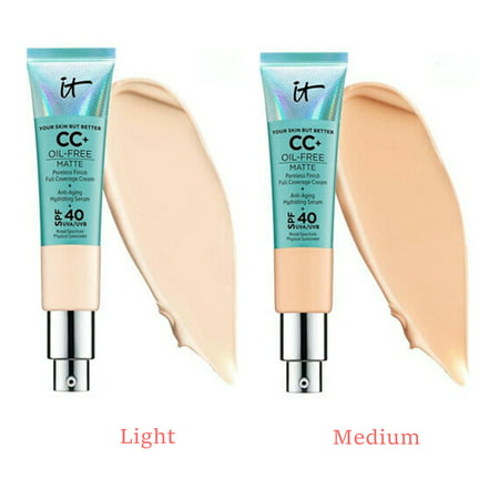 It Cosmetics CC+ Cream Oil-Free Matte with Poreless Finish Full Coverage Matte Foundation + Anti-Aging Hydrating Serum + SPF 40 UVA/UVB Broad Spectrum Physical Sunscreen 1.08 fl oz / 32 ml