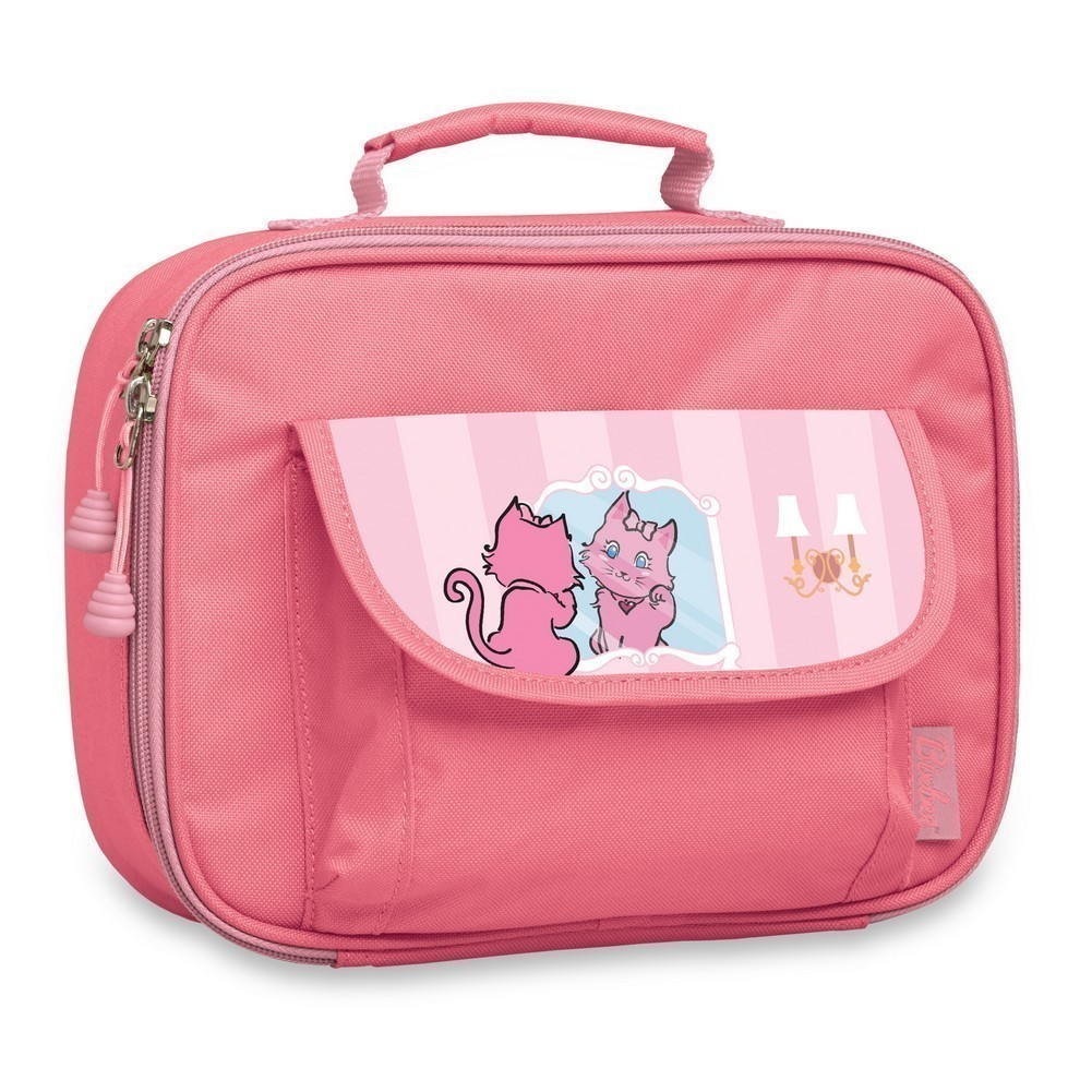 Bixbee Girls Pink Kitty Insulated Flap Pocket Lunch Box