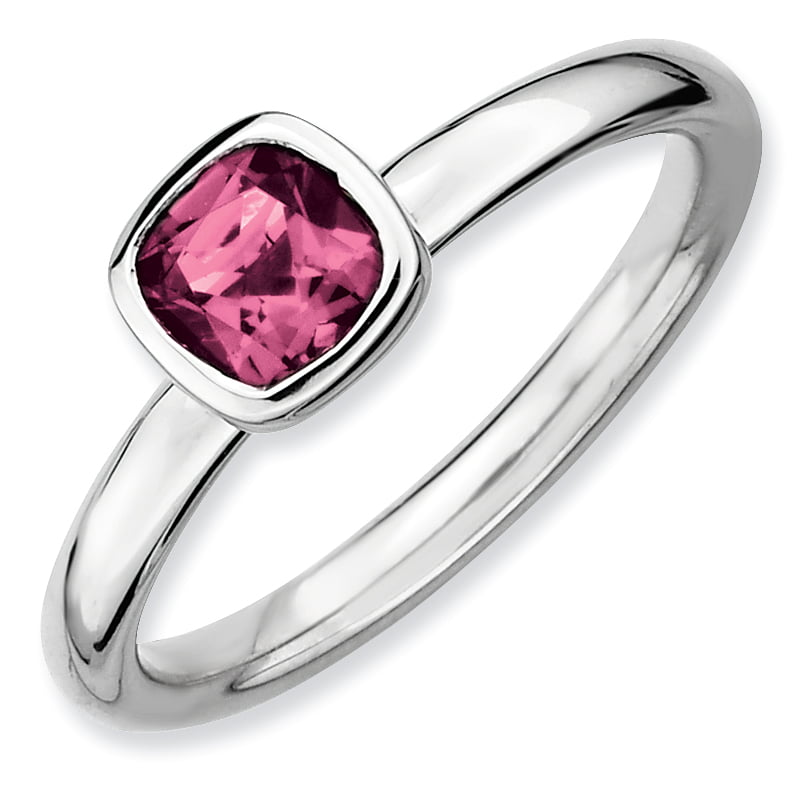Roy Rose Jewelry Sterling Silver Stackable Expressions Cushion Cut Pink Tourmaline Ring ~ Size 7 by