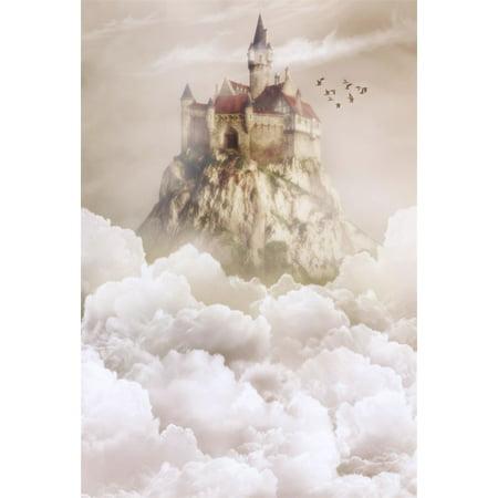 HelloDecor Polyster 5x7ft Wonderland Heaven Castle Backdrop For Photography Dreamy Celestial Cloud Sky Retro Palace Bird Wedding Background Photo Studio Props Lovers Adult Girl Boy Artistic
