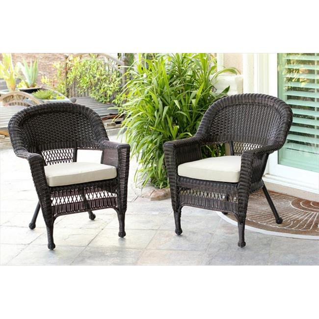 Jeco W00205R-C-2-FS006 Honey Rocker Wicker Chair With Tan Cushion - Set 2
