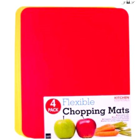 4 Pack Thin Flexible Plastic Kitchen Cutting Boards, with Non-Slip Textured, Easy-Grip Handles, Gripped Backing, Dishwasher Safe, Non-Porous, Durable Chopping Mats, Colors 2 red 2 yellow size 12x15