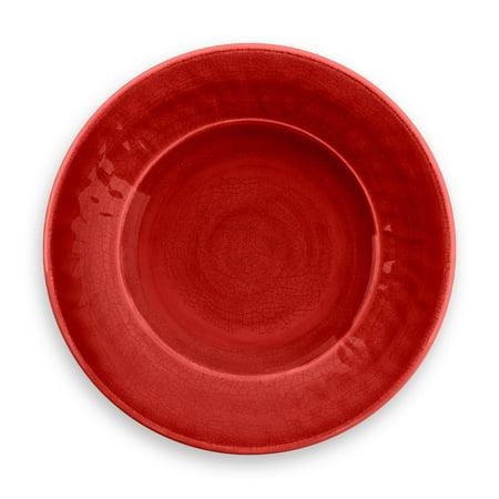 LIFE HAPPENS - MELAMINE CRACKLE GLAZE RED SALAD PLATE 4 PACK
