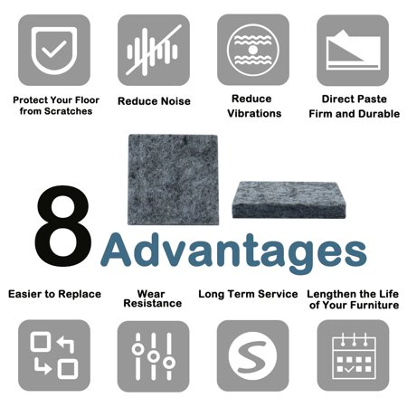 "Felt Furniture Pad Square 1 5/8"" Self Adhesive Floor Table Pads Protector 30pcs - image 2 de 7"