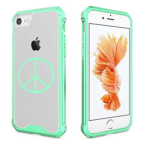 For Apple iPhone Clear Shockproof Bumper Case Hard Cover Peace Sign (Mint for iPhone 7 Plus)