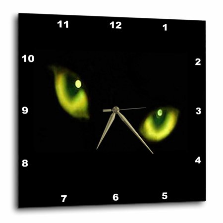 3dRose Green Eyes of a Black Cat, Wall Clock, 15 by (Black Cat Clock With Moving Eyes And Tail)