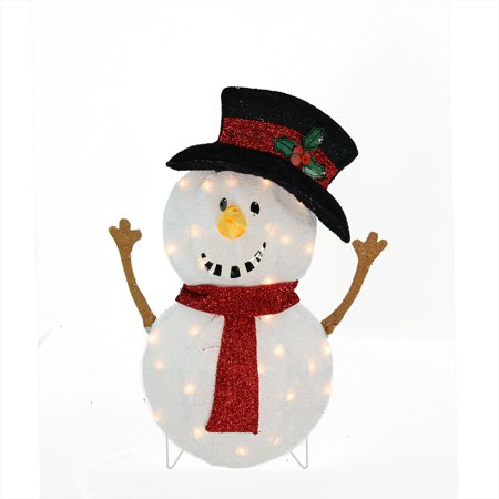 "24"" Candy Cane Lane Lighted Smiling Snowman Christmas Outdoor Decoration"