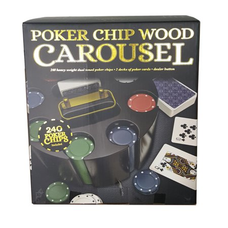 Wood Poker Carousel with Chips, Cards, and Dealer Button