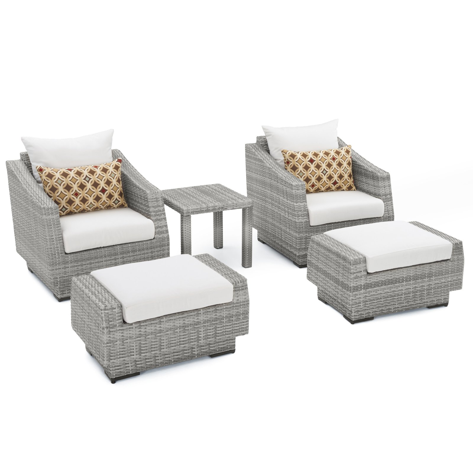 RST Brands Cannes 5 Piece Club Chair and Ottoman with Side Table