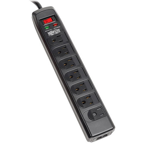 Tripp Lite 7-Outlet Protect It! Surge Suppressor with RJ11 Protection and Integrated Child Safety Covers, 6' Cord