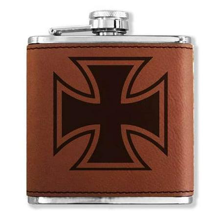 Faux Leather Flask - Iron Cross - Dark - Cross Flask