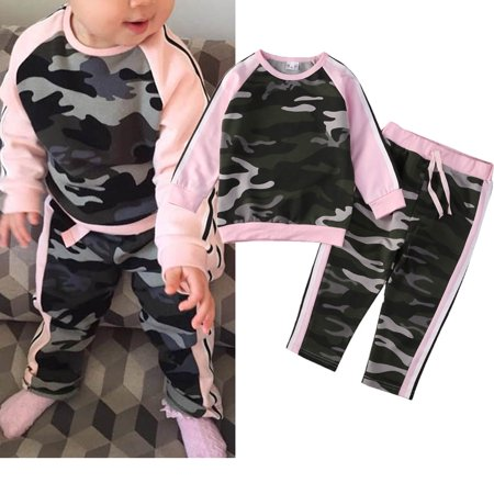 Toddler Kids Baby Girl Boy Camouflage Sports Clothes T-shirt Tops Pants Leggings Outfits USA Baby Toddler Girls Camouflage Shirt