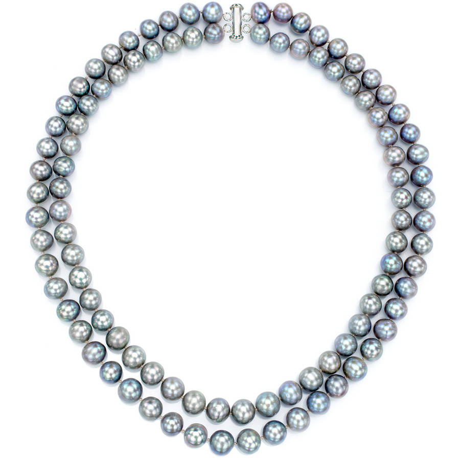 """Gray Freshwater Pearl Necklace for Women, Sterling Silver 2 Row 17"""" & 18"""" 9mm x 10mm by Generic"""