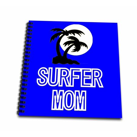 3dRose Tropical Palm Trees and surfer mom logo a great gift for that sports minded surfer mom - Mini Notepad, 4 by 4-inch ()