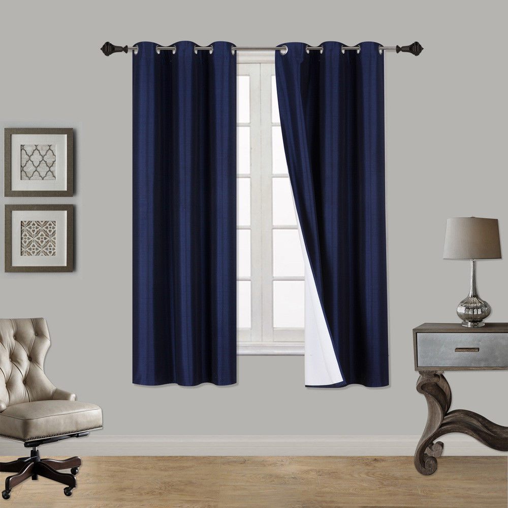 """(SSS) 2-PC Navy Blue Solid Blackout Room Darkening Panel Curtain Set, Two (2) Window Treatments of 37"""" Wide x... by"""