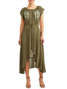 16951c578a1 Product Image Women s Convertible Faux Button Front Hi Low Dress