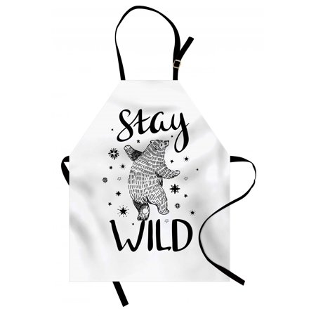 Bear Apron Dancing Bear in Hand Drawn Style with Cute Little Stars Stay Wild Inspirational Quote, Unisex Kitchen Bib Apron with Adjustable Neck for Cooking Baking Gardening, Black White, by Ambesonne