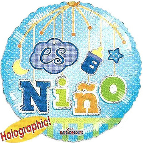 "18"" Es Nino For Spanish Theme Baby Shower Blue Foil / Mylar Balloons ( 6 Balloons )"
