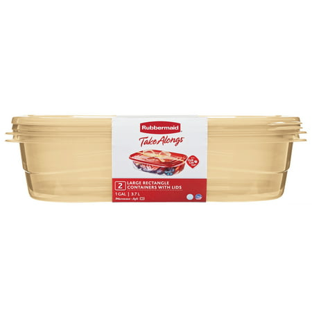 Rubbermaid TakeAlongs Large Rectangular Food Storage Container, 1 Gallon, 2-Pack, Gold