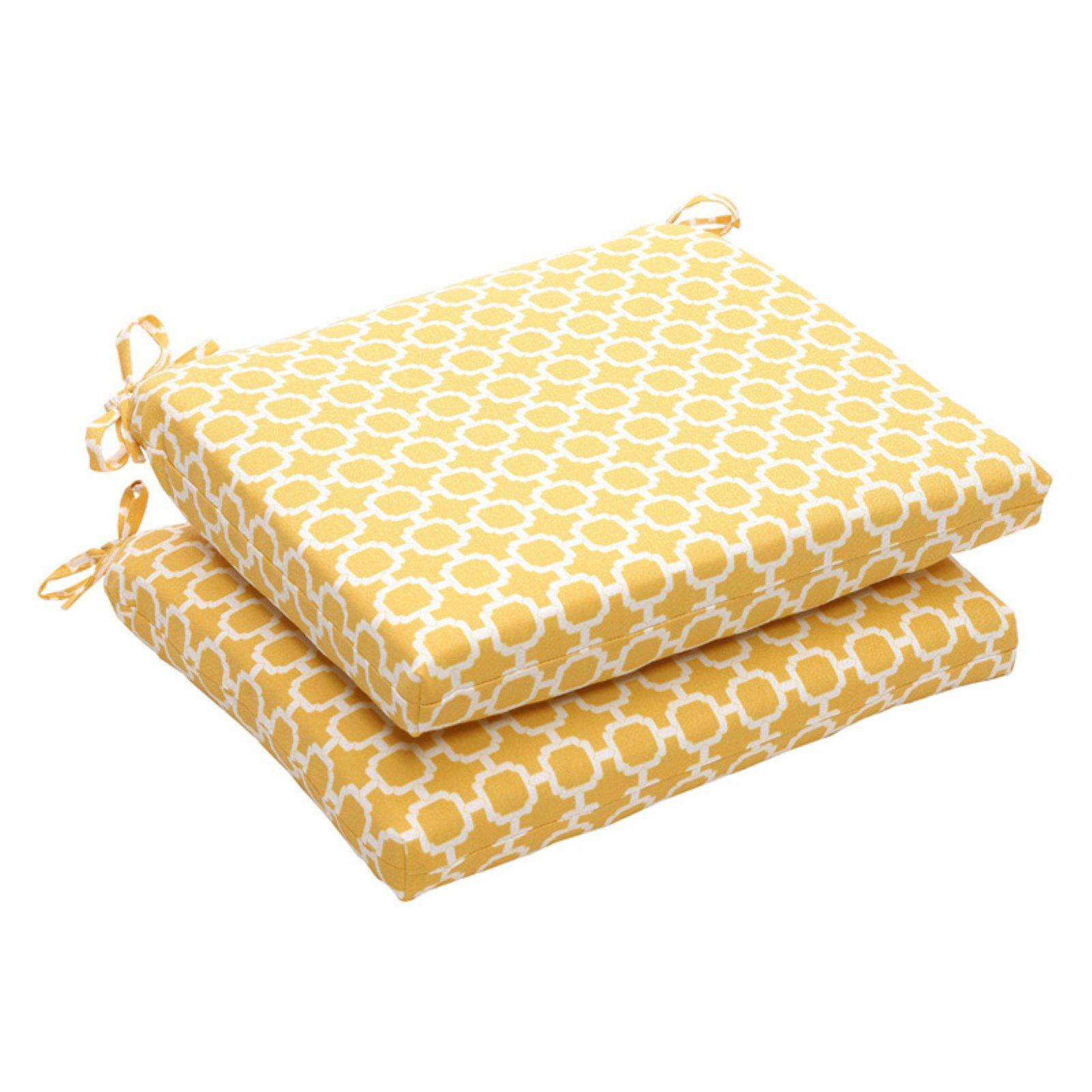 Pillow Perfect Geometric Print Outdoor Seat Cushion - 18.5 x 16 x 3 in. -